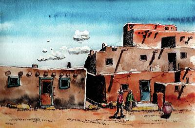 Art Print featuring the painting Southwest Homes by Terry Banderas