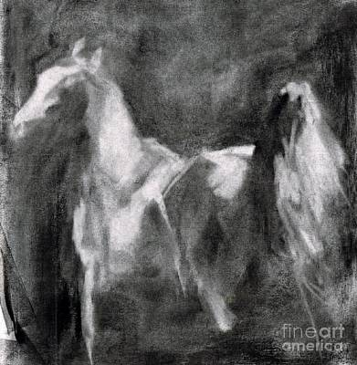 Charcoal Horse Drawing - Southwest Horse Sketch by Frances Marino