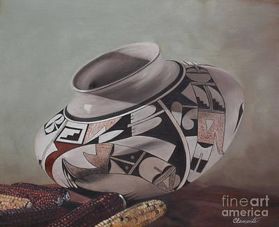Southwest Indian Pot Art Print by Barbara Barber