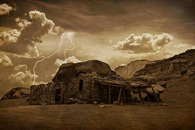 Photograph - Southwest Navajo Rock House And Lightning  by James BO  Insogna