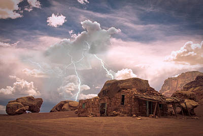 Photograph - Southwest Navajo Rock House And Lightning Strikes by James BO  Insogna