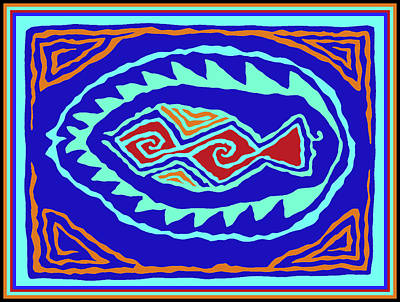 Digital Art - Southwest Pescado by Vagabond Folk Art - Virginia Vivier