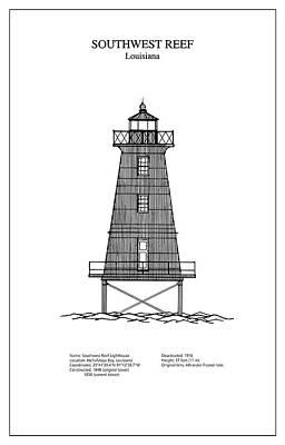 Lighthouse Digital Art - Southwest Reef Lighthouse - Louisiana - Blueprint Drawing by Jose Elias - Sofia Pereira