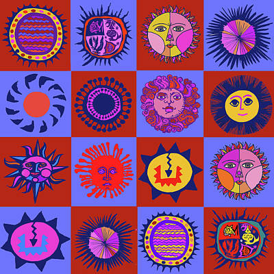 Digital Art - Southwest Sun Folk Art by Vagabond Folk Art - Virginia Vivier