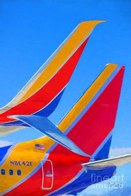 Passenger Plane Mixed Media - Southwest Tails by Garland Johnson