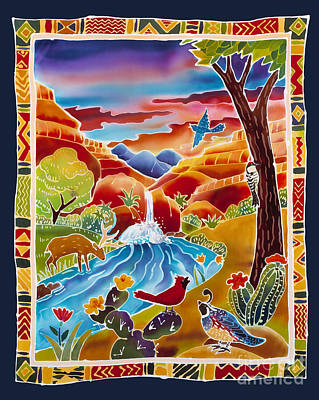 Batik Painting - Southwest Waterfall by Harriet Peck Taylor