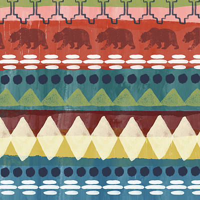 Southwest With Bears- Art By Linda Woods Art Print