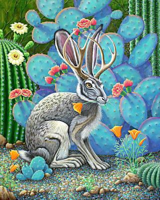 Painting - Southwestern Jackalope by Tish Wynne