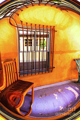 Digital Art - Southwestern Porch Distortion With Puple Floor by Susan Vineyard