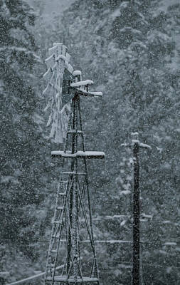 Photograph - Southworth Windmill Snow Bound by E Faithe Lester