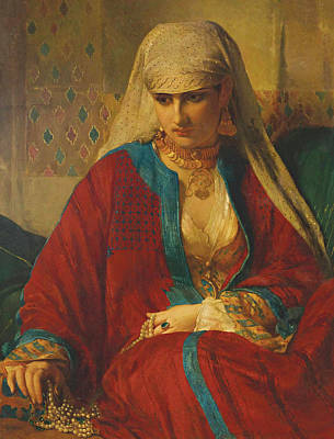 Deep In Thought Painting - Souvenir D'orient, 1870 by Jean Francois Portaels