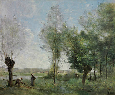Realistic Painting - Souvenir Of Coubron by Camille Corot