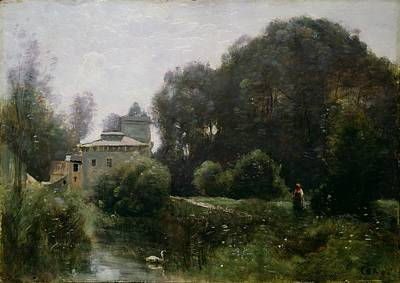 Swans... Painting - Souvenir Of The Villa Borghese by Jean Baptiste Camille Corot