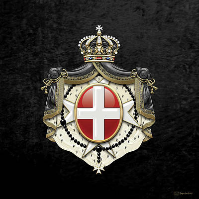 Digital Art - Sovereign Military Order Of Malta Coat Of Arms Over Black Velvet by Serge Averbukh
