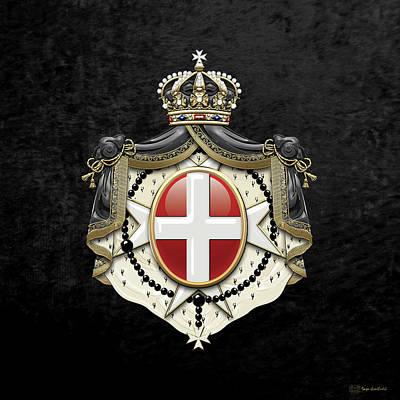 Sovereign Military Order Of Malta Coat Of Arms Over Black Velvet Original