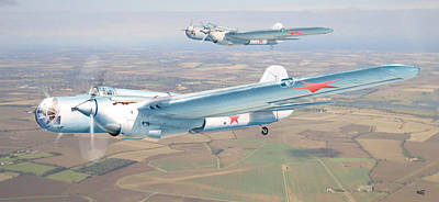 Soviet Bomber Ar-2 Of The Fortieth Years In Formation Flying Art Print by Alex Arkhipau