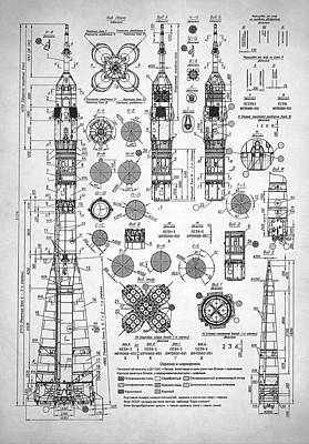 Digital Art - Soviet Rocket Schematics by Taylan Apukovska