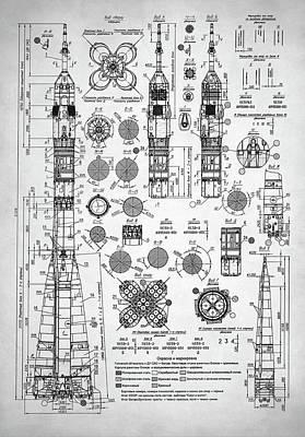 Rocketship Digital Art - Soviet Rocket Schematics by Taylan Apukovska