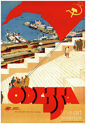 Soviet Union Mixed Media - Soviet Union Odessa Vintage Travel Poster Restored by Carsten Reisinger