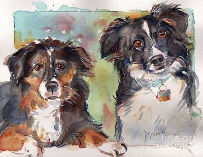 Sox And Vinny Original by Maria's Watercolor