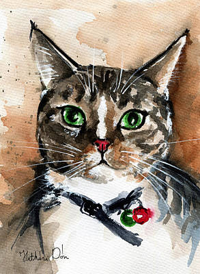 Painting - Sox The Rescued Tabby Cat by Dora Hathazi Mendes