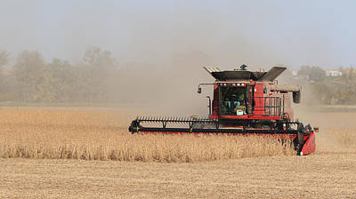 Soybean Harvest In Fremont County Iowa Art Print