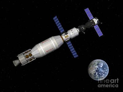 Soyuz Deep Space Explorer Docked Begins Art Print by Walter Myers