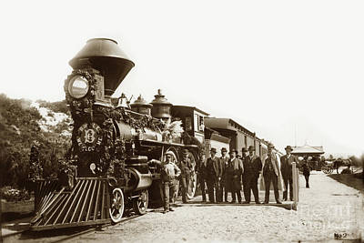 Photograph - Sp 73 4-4-0 Poss With Brotherhood Of Loco Engineers At Del Monte 1884 by California Views Mr Pat Hathaway Archives