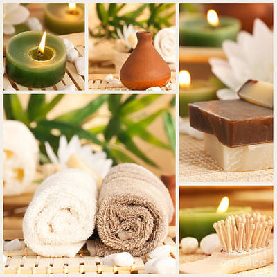 Diffuser Photograph - Spa Collage by Mythja  Photography