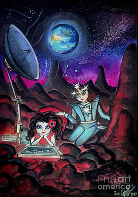 Planet Fantastic Painting - Space Aliens. Beginning Of Friendship by Sofia Metal Queen