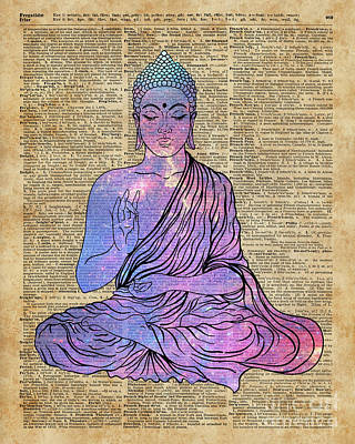 Space Buddha Dictionary Art Art Print by Joanna and Jacob Kuch