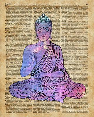 Gautama Digital Art - Space Buddha Dictionary Art by Joanna and Jacob Kuch