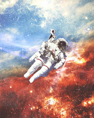 Murphy Mixed Media - Space Cadet - Astronaut Collage by Dylan Murphy