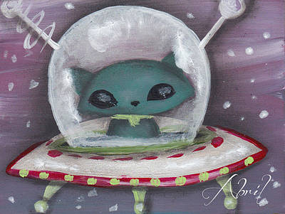 Pop Surrealism Painting - Space Cat Alien by Abril Andrade Griffith