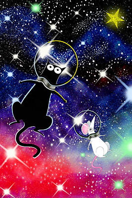Outer Space Mixed Media - Space Cat by Andrew Hitchen