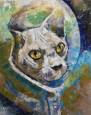 Astronauts Painting - Space Cat by Michael Creese