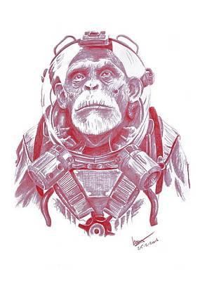 Chimpanzee Drawing - Space Chimp by Kenny Noorlander