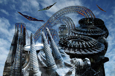 Digital Art - Space City by Lisa Yount