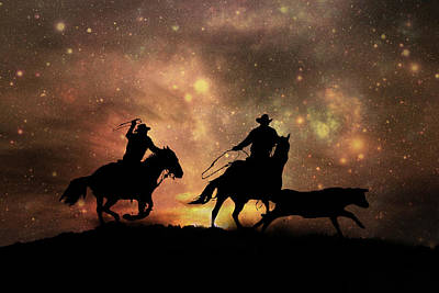 Team Roping Photograph - Space Cowboys by Stephanie Laird