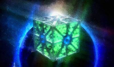 Space Cube Art Print