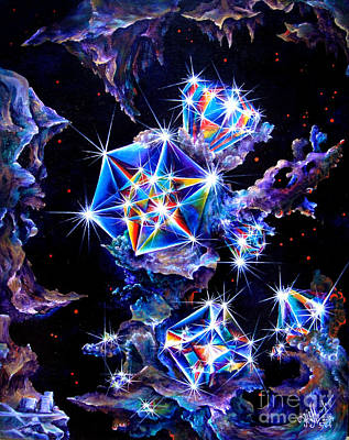 Sparkly Painting - Space Diamond Crystals And Asteroids by Sofia Metal Queen