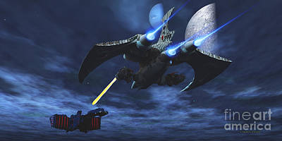 Fantasy Royalty-Free and Rights-Managed Images - Space Fight by Corey Ford