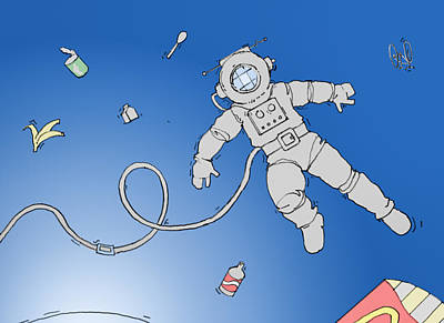 Spaceman Digital Art - Space by H James Hoff