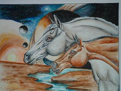 Space Horses  Art Print by Andrea  Darlington