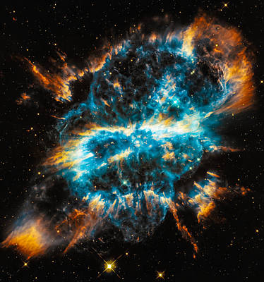Digital Art - Space Image Blue And Orange Nebula by Matthias Hauser