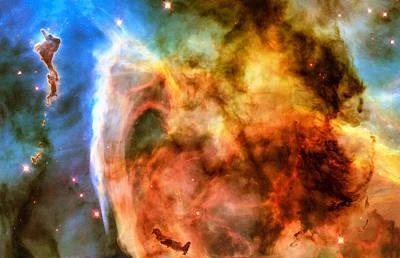 Photograph - Space Image Carina Nebula Orange Yellow Blue by Matthias Hauser