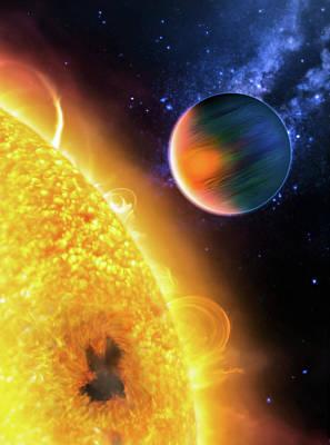 Photograph - Space Image Extrasolar Planet Yellow Orange Blue by Matthias Hauser