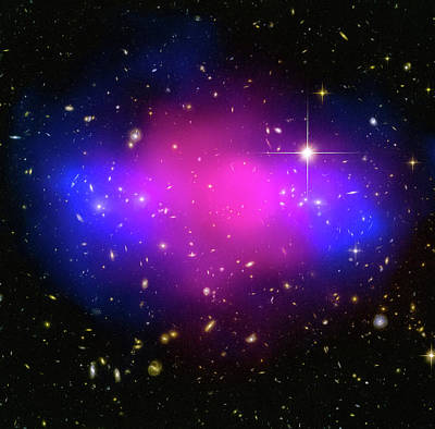 Photograph - Space Image Galaxy Cluster Purple Blue Black by Matthias Hauser
