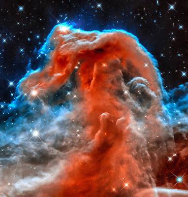 Space Image Horsehead Nebula Orange Red Blue Black Art Print