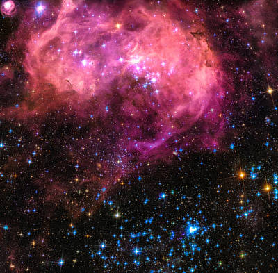 Photograph - Space Image Large Magellanic Cloud Pink Blue Black by Matthias Hauser